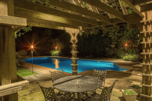 Pool with lighting outdoors